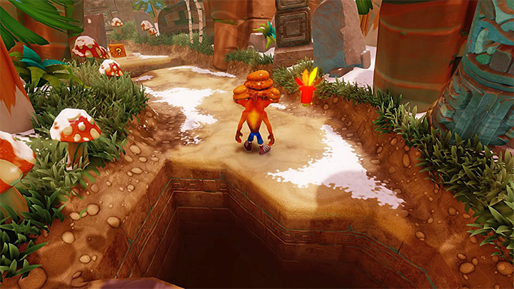 Begin running in a straight line and avoid enemies equipped with hammers and plants spewing explosive seeds - Bee-Having | Crash Bandicoot 2 | Levels - Crash Bandicoot 2 - Alpine Warp Room - Crash Bandicoot N. Sane Trilogy Game Guide
