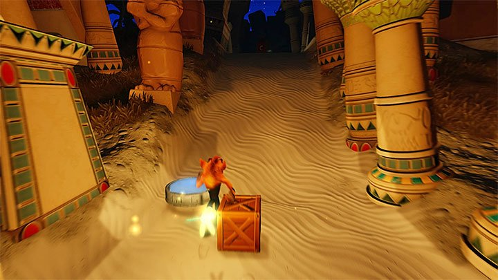 Soon after you get past the blocks, you will reach the plate shown in the above screenshot, thanks to which you will travel to the first secret location - Bug Lite | Crash Bandicoot 3 | Levels - Crash Bandicoot 3 - Future location - Crash Bandicoot N. Sane Trilogy Game Guide