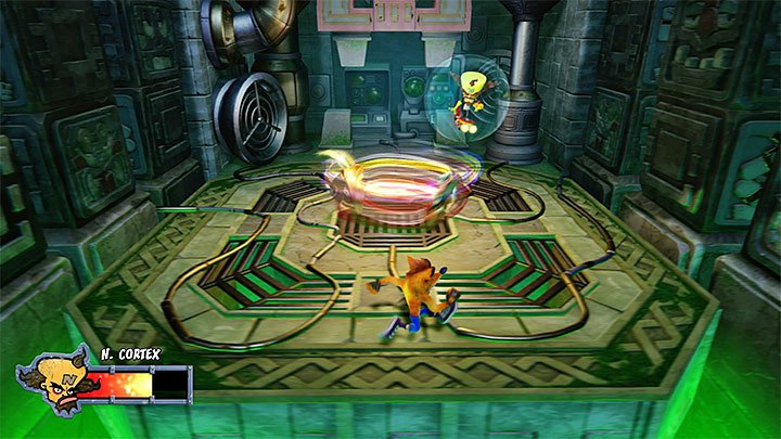 The only thing that is new to the second phase is that the fighting masks will now resemble tornadoes - Dr. Neo Cortex (the Final Boss) | Crash Bandicoot 3 | Boss fights - Crash Bandicoot 3: Warped - Crash Bandicoot N. Sane Trilogy Game Guide
