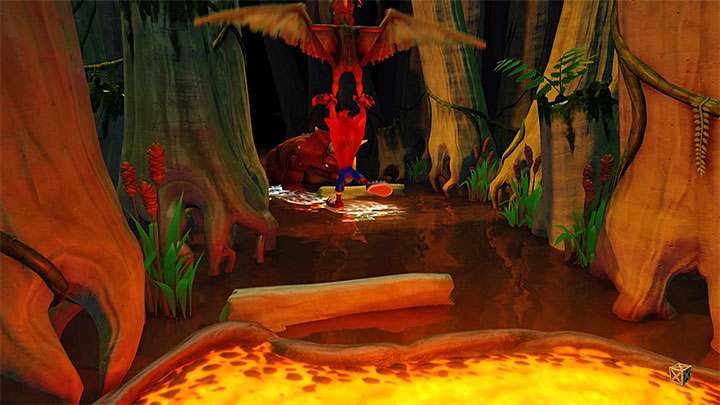 Follow the yellow road and you will reach the area shown in screenshot 1, where you start escaping from a triceratops - Hot Coco and Eggipus Rex | Crash Bandicoot 3 | Secret Levels - Crash Bandicoot 3 - Secret levels - Crash Bandicoot N. Sane Trilogy Game Guide