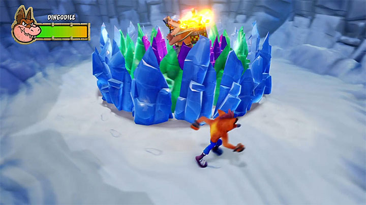 During the battle, Dingodile will use a flamethrower and he starts with bombarding the area - Pentas Revenge | Crash Bandicoot 3 Trophy Guide - Crash Bandicoot 3: Warped - Crash Bandicoot N. Sane Trilogy Game Guide
