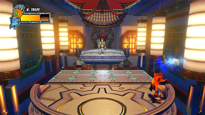 The only difference between this phase and the previous one is that the boss will fire, at least, one blue projectile in your direction - A Nefarious Trophy | Crash Bandicoot 3 Trophy Guide - Crash Bandicoot 3: Warped - Crash Bandicoot N. Sane Trilogy Game Guide