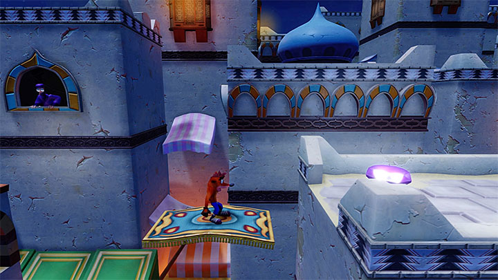 You can obtain the violet gem during the thirteenth stage - High Time - Bringing Down the House | Crash Bandicoot 3 Trophy Guide - Crash Bandicoot 3: Warped - Crash Bandicoot N. Sane Trilogy Game Guide