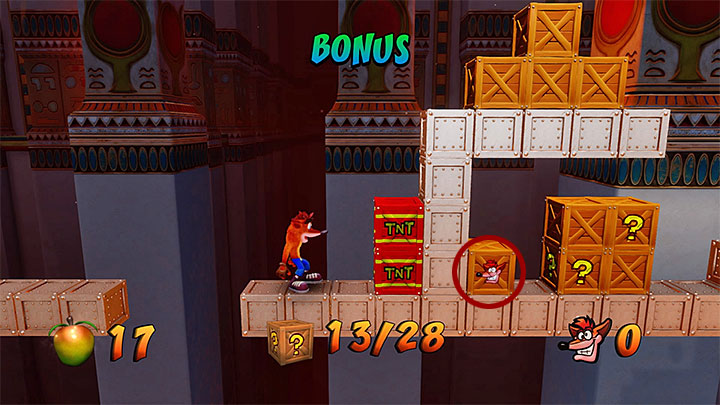 In one of the next areas, there are a violet crystal and a pressure plate traveling to the bonus round starting point (shown in screenshot 1) - Sphynxinator | Crash Bandicoot 3 | Levels - Crash Bandicoot 3 - Egyptian location - Crash Bandicoot N. Sane Trilogy Game Guide