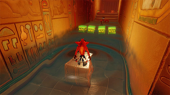 After you return into the main part of the tomb, wait for the water level to drop, hit the exclamation mark and give the rotary mechanism a turn - Tomb Wader | Crash Bandicoot 3 | Levels - Crash Bandicoot 3 - Egyptian location - Crash Bandicoot N. Sane Trilogy Game Guide