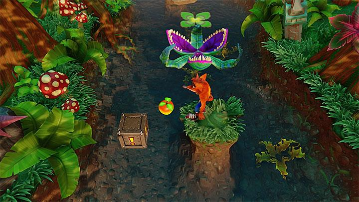 Start going up the river and be careful when jumping between floating leaves, as it is easy to miss your jump - Up the Creek | Wumpa Island | Levels - Crash Bandicoot - Wumpa Island - Crash Bandicoot N. Sane Trilogy Game Guide