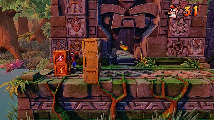 You will come across the first problem at the very start of the level - you wont be able to reach the crates that easily (see screenshot) - The Lost City | Wumpa Island | Levels - Crash Bandicoot - Wumpa Island - Crash Bandicoot N. Sane Trilogy Game Guide