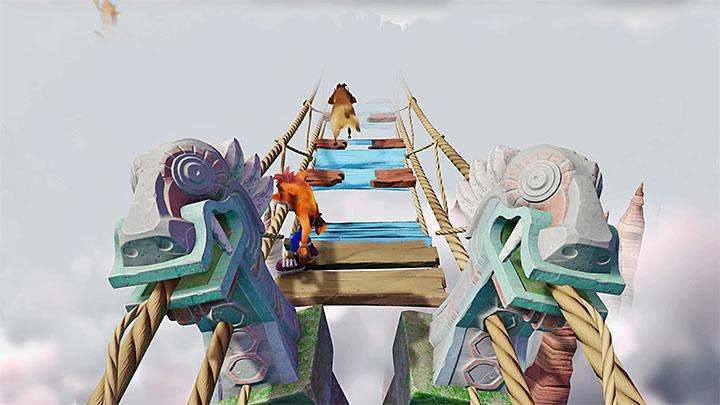 The entire level is a mountain path where you will have to cross hanging bridges - Road to Nowhere | Wumpa Island | Levels - Crash Bandicoot - Wumpa Island - Crash Bandicoot N. Sane Trilogy Game Guide