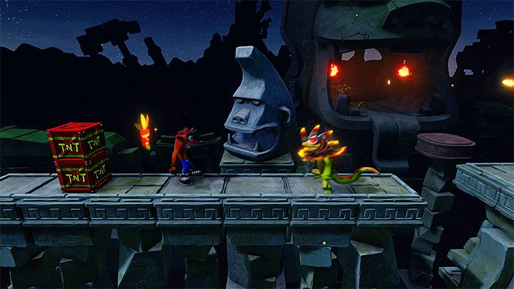 Head up the screen and watch out for the brown stone ledges appearing at the beginning of the stage - Road to Ruin | Crash Bandicoot 2 | Levels - Crash Bandicoot 2 - Sewer Warp Room - Crash Bandicoot N. Sane Trilogy Game Guide