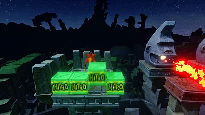 Head on and stop on the small ledge neighboring the four nitroglycerine crates - Road to Ruin | Crash Bandicoot 2 | Levels - Crash Bandicoot 2 - Sewer Warp Room - Crash Bandicoot N. Sane Trilogy Game Guide