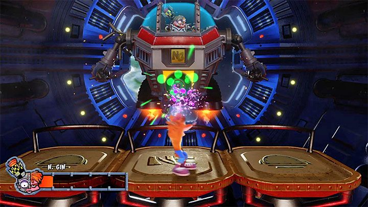In the last part of the fight, Nitrus Gin will be using the central gun - Mech Wrecked | Crash Bandicoot 2 Trophy Guide - Crash Bandicoot 2: Cortex Strikes Back - Crash Bandicoot N. Sane Trilogy Game Guide