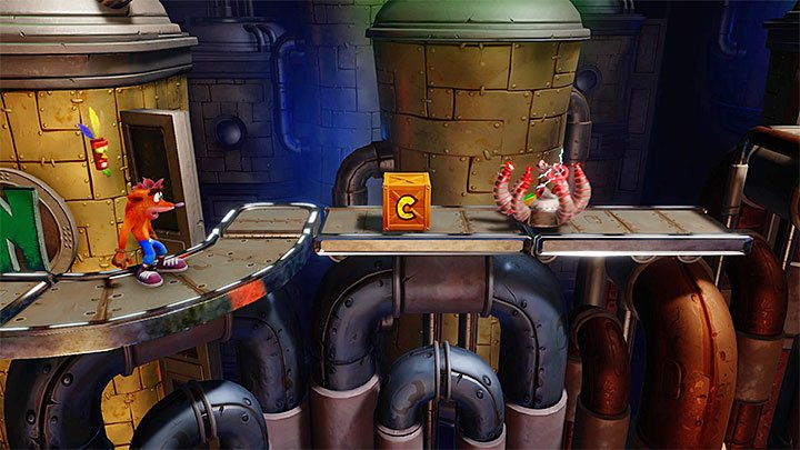 Destroy the first few crates that are near the starting place - Piston It Away | Crash Bandicoot 2 | Levels - Crash Bandicoot 2 - High-Tech Warp Room - Crash Bandicoot N. Sane Trilogy Game Guide