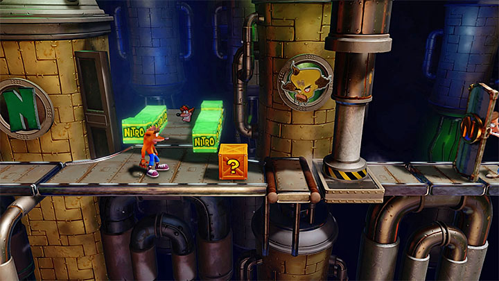 When you leave the bonus round you must keep moving right - Piston It Away | Crash Bandicoot 2 | Levels - Crash Bandicoot 2 - High-Tech Warp Room - Crash Bandicoot N. Sane Trilogy Game Guide