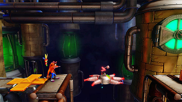 If up to this point you didnt die then in the place that you passed by, picture 1, you can find a platform that will transport Crash on the Death Route - Piston It Away | Crash Bandicoot 2 | Levels - Crash Bandicoot 2 - High-Tech Warp Room - Crash Bandicoot N. Sane Trilogy Game Guide