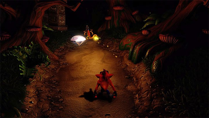 When you start the level you must follow the main path - Night Fight | Crash Bandicoot 2 | Levels - Crash Bandicoot 2 - High-Tech Warp Room - Crash Bandicoot N. Sane Trilogy Game Guide
