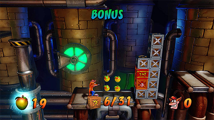 After unlocking the checkpoint you must perform a long jump on the lower right ledge but only when the robot that walks on it goes away to the right - Spaced Out | Crash Bandicoot 2 | Levels - Crash Bandicoot 2 - High-Tech Warp Room - Crash Bandicoot N. Sane Trilogy Game Guide