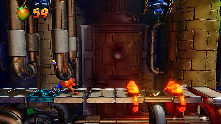 When you return to the main part of the factory you must go right but watch out in the place where you must perform your first slide - Spaced Out | Crash Bandicoot 2 | Levels - Crash Bandicoot 2 - High-Tech Warp Room - Crash Bandicoot N. Sane Trilogy Game Guide