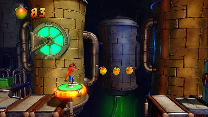 You must jump on a plate located between hot pipes again and deflect an incoming ball at the right moment - Spaced Out | Crash Bandicoot 2 | Levels - Crash Bandicoot 2 - High-Tech Warp Room - Crash Bandicoot N. Sane Trilogy Game Guide