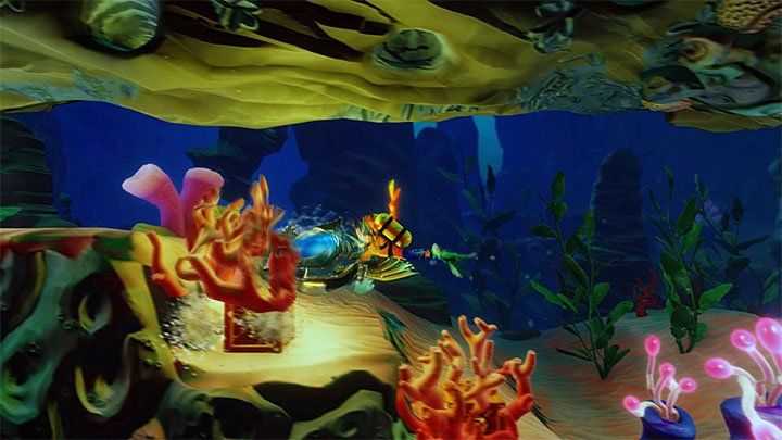Swim into a metal construction and interact with something similar to a submarine that will help you in your journey (sadly, not throughout the entire level) - Under Pressure | Crash Bandicoot 3 | Levels - Crash Bandicoot 3 - Medieval location - Crash Bandicoot N. Sane Trilogy Game Guide