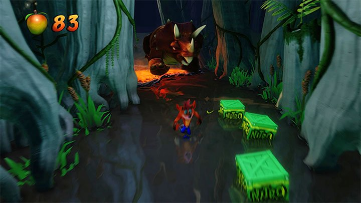 When you return from the bonus round you must avoid lava and enemies that hide under the water - Bone Yard | Crash Bandicoot 3 | Levels - Crash Bandicoot 3 - Medieval location - Crash Bandicoot N. Sane Trilogy Game Guide