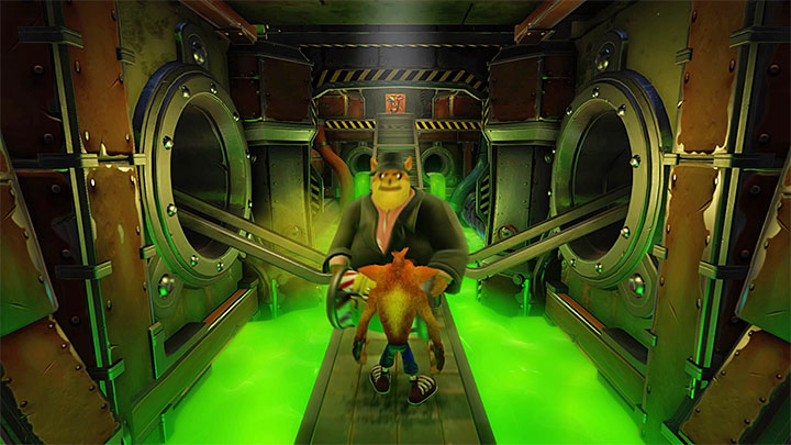 You encounter the first opponent right after the stage starts - Toxic Waste | Cortex Island | Levels - Crash Bandicoot - Cortex Island - Crash Bandicoot N. Sane Trilogy Game Guide