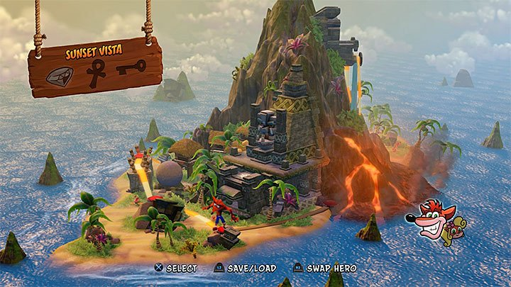 Sunset Vista is one of levels available in Wumpa Island (the picture above) - Cortexs Crazed Contest | Crash Bandicoot | Trophy Guide - Crash Bandicoot - Crash Bandicoot N. Sane Trilogy Game Guide