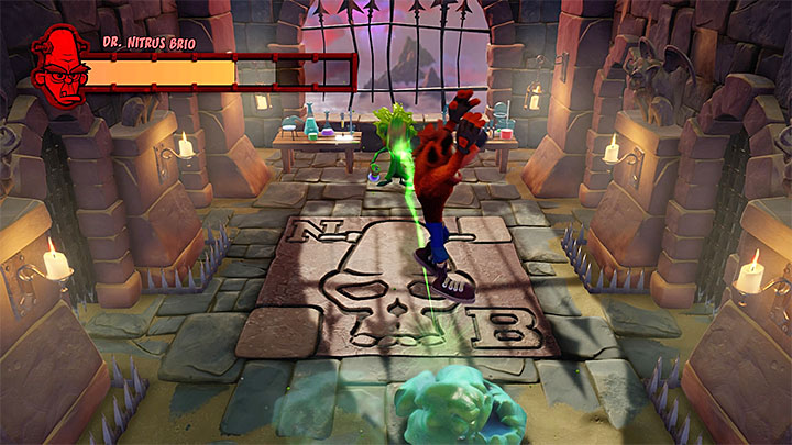 Jumping on the blob will send a green projectile towards the boss - Dr. Nitrus Brio | Boss Fights in Crash Bandicoot - Crash Bandicoot - Crash Bandicoot N. Sane Trilogy Game Guide