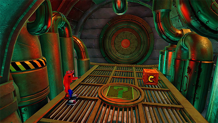 After you have obtained the green gem, return along the same path, up to the fork (again, watch out for the discharges and nitroglycerine crates - The Eel Deal | Crash Bandicoot 2 | Levels - Crash Bandicoot 2 - Ice Warp Room - Crash Bandicoot N. Sane Trilogy Game Guide