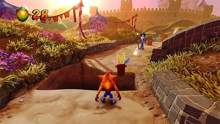 Up ahead, you encounter the wizard shown in the above screenshot - Gee Wiz | Crash Bandicoot 3 | Levels - Crash Bandicoot 3 - Arabic location - Crash Bandicoot N. Sane Trilogy Game Guide