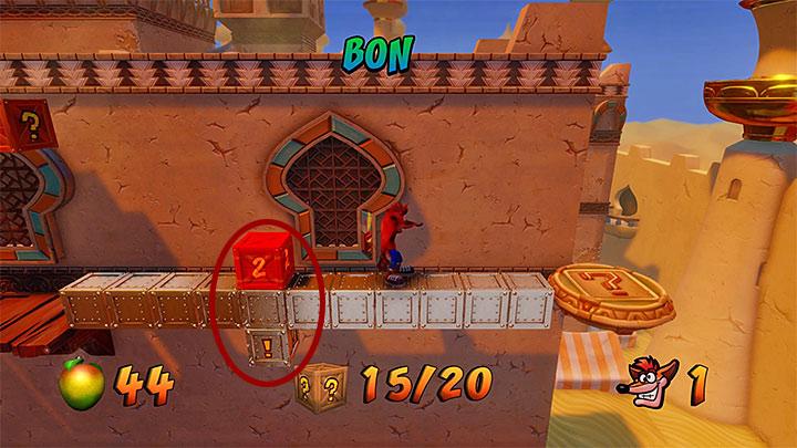 Right after you let go of the grates, you will land right next to the violet crystal and a plate with the question mark, shown in screenshot 1 - Hang Em High | Crash Bandicoot 3 | Levels - Crash Bandicoot 3 - Arabic location - Crash Bandicoot N. Sane Trilogy Game Guide