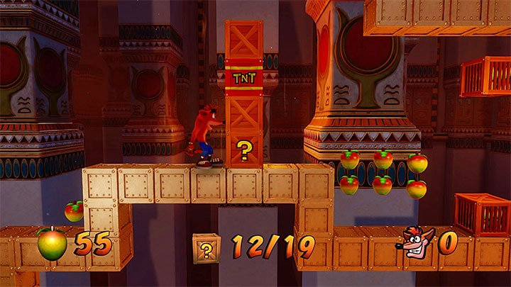 After you get past the first group of plates, you will reach the corner shown in screenshot 1, where there is a moving platform with the question mark, traveling to the bonus round - Tomb Time | Crash Bandicoot 3 | Levels - Crash Bandicoot 3 - Arabic location - Crash Bandicoot N. Sane Trilogy Game Guide