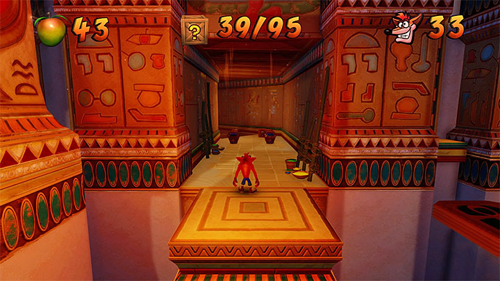 In the next corridor, there are jugs shown in the above screenshot, where there is a monkey hiding - Tomb Time | Crash Bandicoot 3 | Levels - Crash Bandicoot 3 - Arabic location - Crash Bandicoot N. Sane Trilogy Game Guide