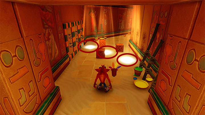 Do not hurry across the next part of the tomb, because there are hidden traps in the location shown in the above screenshot - Tomb Time | Crash Bandicoot 3 | Levels - Crash Bandicoot 3 - Arabic location - Crash Bandicoot N. Sane Trilogy Game Guide
