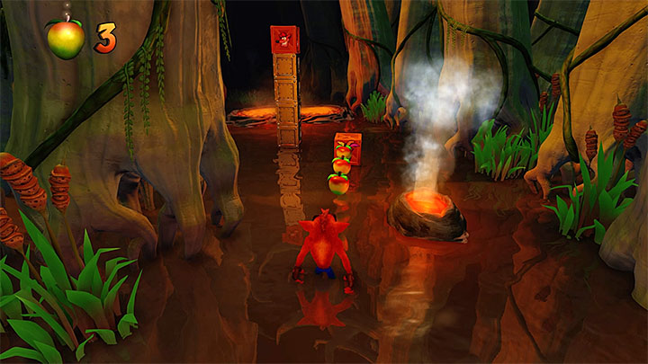 From the beginning of the level you must watch out for small volcanoes/geysers from which a hot gas leaks out (an example is in the picture above) - Dino Might! | Crash Bandicoot 3 | Levels - Crash Bandicoot 3 - Oriental location - Crash Bandicoot N. Sane Trilogy Game Guide