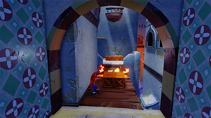 When you start the level you come across new obstacles - some enemies can throw pots with flammable substance at you (the picture above) - High Time | Crash Bandicoot 3 | Levels - Crash Bandicoot 3 - Oriental location - Crash Bandicoot N. Sane Trilogy Game Guide
