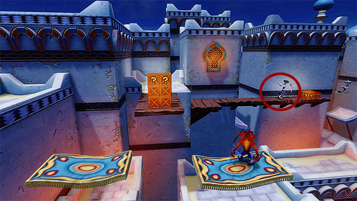 In order to continue your journey through the main part of the map you must start climbing again, this time by bouncing off of trampolines and using flying carpets - High Time | Crash Bandicoot 3 | Levels - Crash Bandicoot 3 - Oriental location - Crash Bandicoot N. Sane Trilogy Game Guide