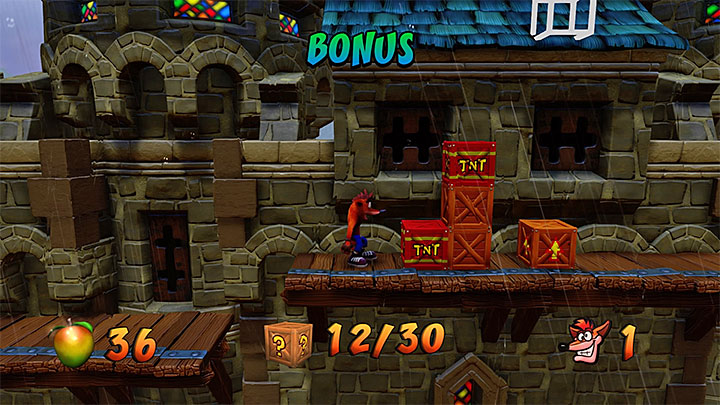 Continue your journey through the village which, for now, wont surprise you with anything new (detonate TNT crates in the same way as always) - Double Header | Crash Bandicoot 3 | Levels - Crash Bandicoot 3 - Oriental location - Crash Bandicoot N. Sane Trilogy Game Guide