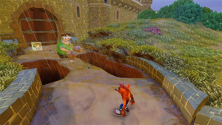 When you go back to the village you must move forward and try to avoid every two-headed giant - Double Header | Crash Bandicoot 3 | Levels - Crash Bandicoot 3 - Oriental location - Crash Bandicoot N. Sane Trilogy Game Guide