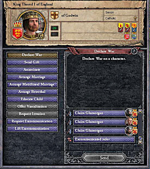 Every pretext is good. - How to declare a war? - Military - Crusader Kings II - Game Guide and Walkthrough