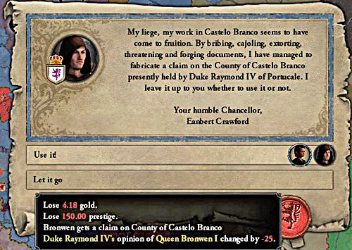 Fabricate claims costs many prestige points. - How to declare a war? - Military - Crusader Kings II - Game Guide and Walkthrough