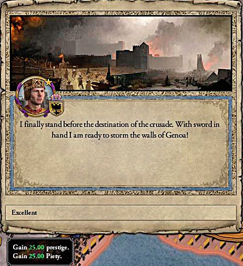 Not only success in the crusade is rewarded. Also most of sieges and even getting to the target. - How to declare a war? - Military - Crusader Kings II - Game Guide and Walkthrough