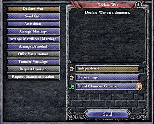 Usually its better to take over the crown from the sovereign, than fighting for independence. - How to declare a war? - Military - Crusader Kings II - Game Guide and Walkthrough