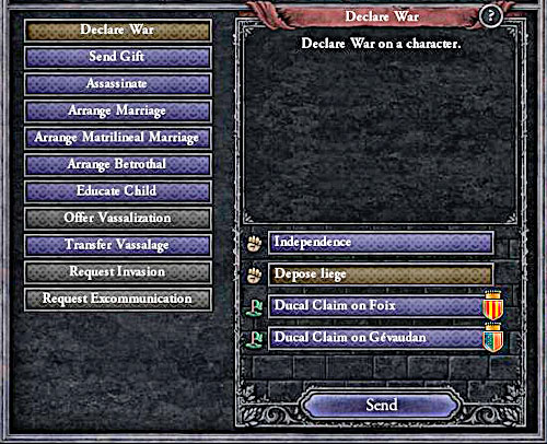 Duke can become the king, he jus needs to win the war. - How to declare a war? - Military - Crusader Kings II - Game Guide and Walkthrough