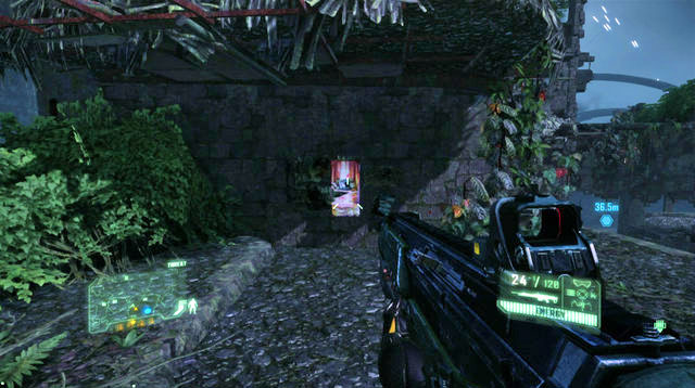 As soon as there are no more enemies within sight, cross to the other side (defuse the mines in the plank between the buildings) and enter the building that has been occupied by the enemy - Destroy the first defense system - Only Human - Crysis 3 - Game Guide and Walkthrough