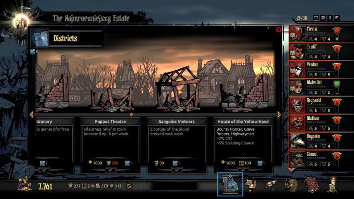 You can access the District screen with the new button located on the bottom of the screen. - Districts | Game mechanics | The Crimson Court - Game mechanics - Darkest Dungeon Game Guide & Walkthrough
