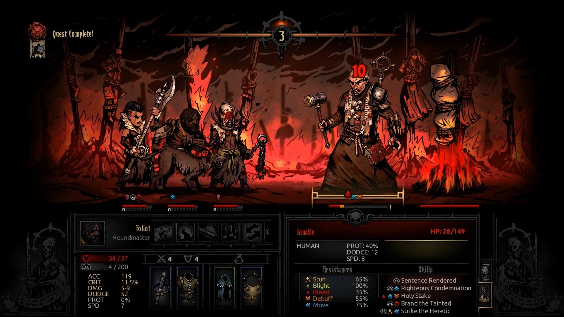 Ignore the hero on the Pyre and focus all your attention on the Fanatic. - How to defeat The Fanatic? | Bosses | The Crimson Court - Bosses - Darkest Dungeon Game Guide & Walkthrough