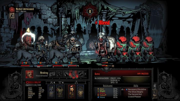 The first of the three bosses of the DLC - the Baron - The Baron | Bosses | The Crimson Court - Bosses - Darkest Dungeon Game Guide & Walkthrough