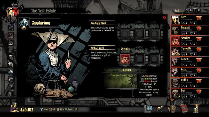 The Crimson Curse DLC introduces numerous things to the Darkest Dungeon, one of them being the Crimson Curse - How to get rid of the Crimson Curse? | FAQ - FAQ - Darkest Dungeon Game Guide & Walkthrough