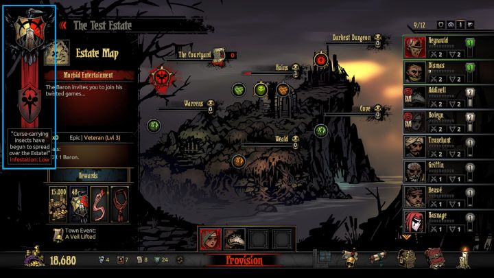 The level of the Infestation can be checked in the upper left corner of the screen. - General information | The Courtyard Area | The Crimson Court - The Courtyard Area - Darkest Dungeon Game Guide & Walkthrough