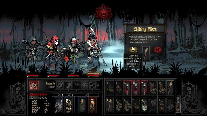 Interacting with the Shifting Mists without a Torch can be very punishing. - New Curios and Obstacles in The Crimson Court | The Courtyard Area - The Courtyard Area - Darkest Dungeon Game Guide & Walkthrough